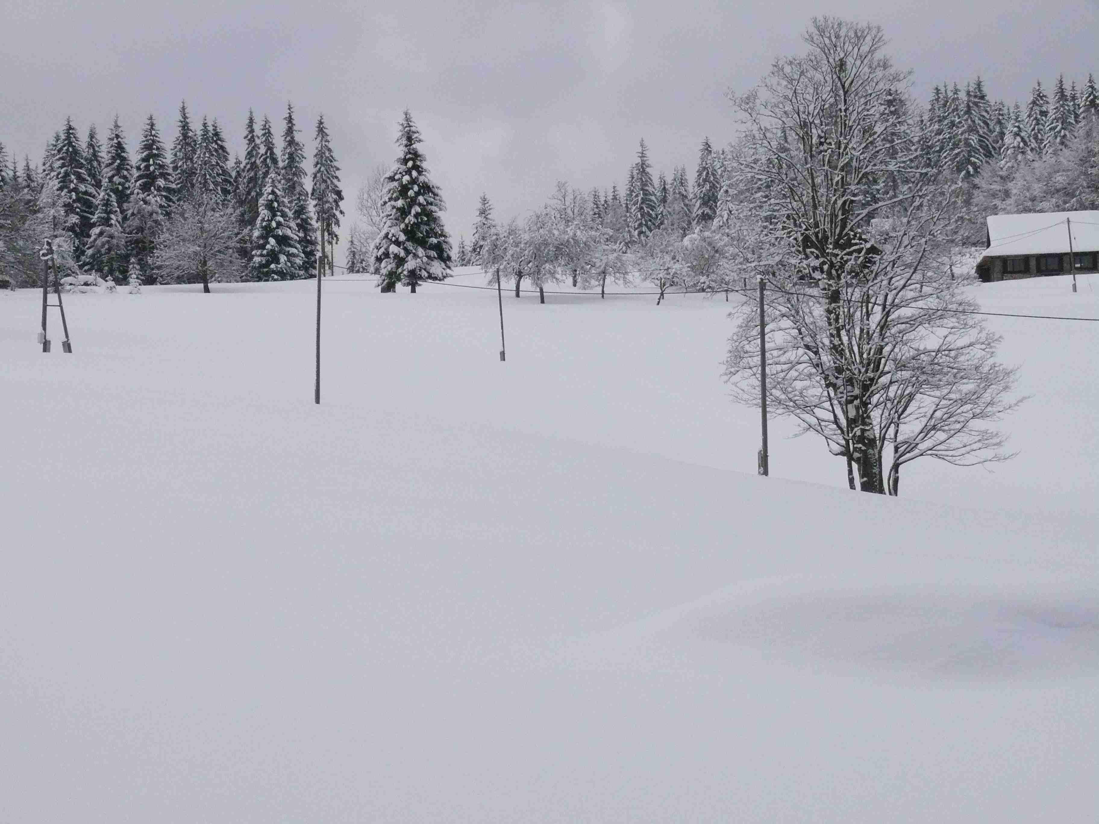 zasněžený kopec (sněhu po zadek)